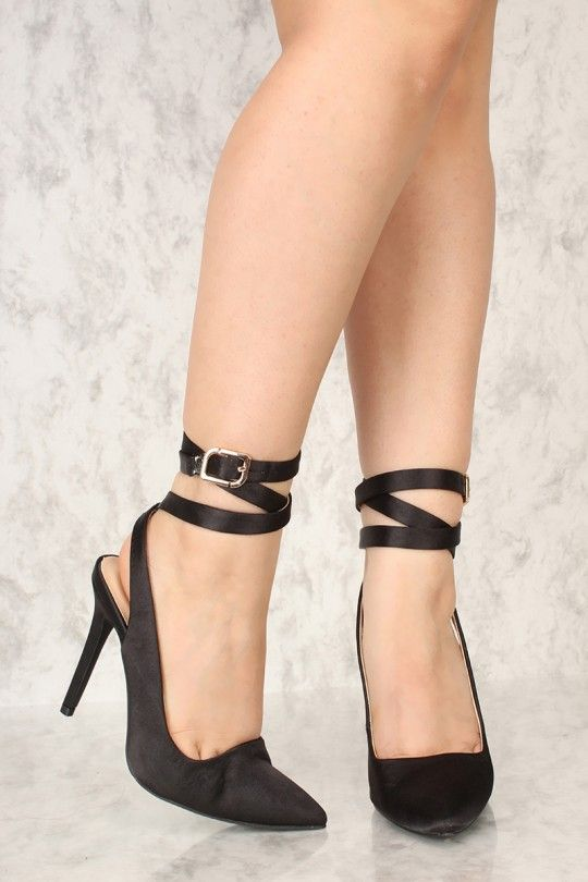 a0a283fb3584 Sexy Black Wrap Around Pointy Toe High Heels Satin