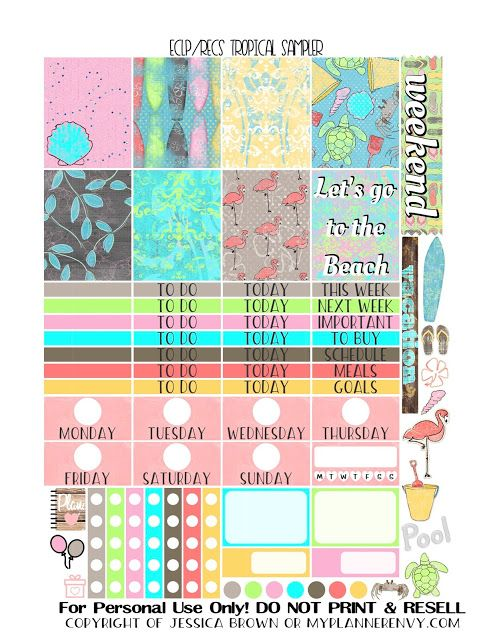 Free Printable Tropical Sampler for the Vertical Erin Condren and Recollections Creative Years Planners from myplannerenvy.com