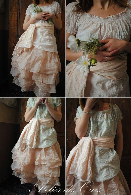 MLLE LOLA : Top en voile de coton rose ou liberty, écharpe liberty rose, jupon en organdi rose.   Quel Merveille ***