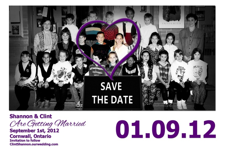 Our Save The Date using our Grade 3 class picture.