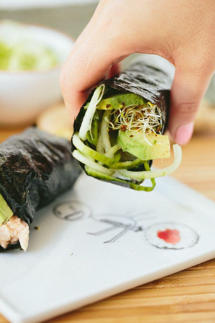 Cucumber-Avocado Tuna Hand Rolls with Sriracha-Ginger Fayo