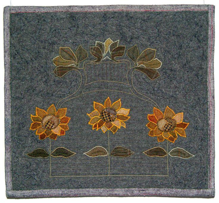 "Bozena Wojtaszek ""Sunflowers"", art quilt"