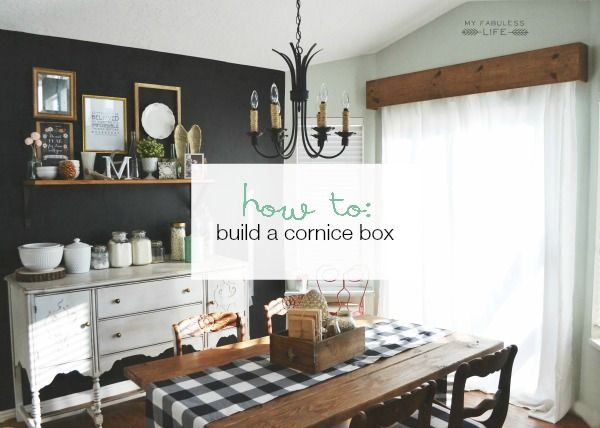 How to build a cornice box for less than $20 (with curtains). Get rid of those ugly vertical blinds! BONUS: This is renter-friendly DIY!