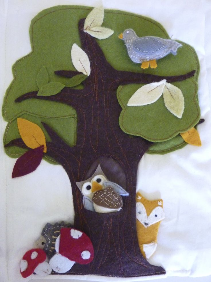 quiet book scene, tree with forest animals.owl,pigeon,fox and a hedgehog.