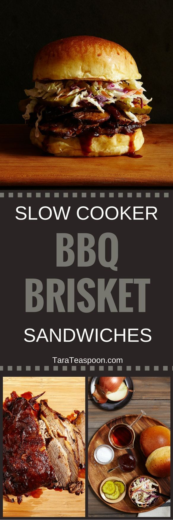Slow Cooker Brisket Sandwiches Pin