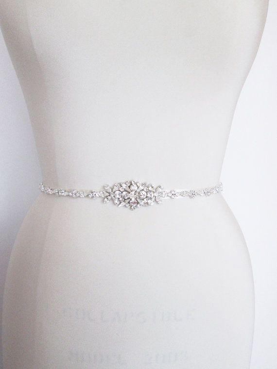 Bridal belt Swarovski crystal skinny bridal belt by SabinaKWdesign