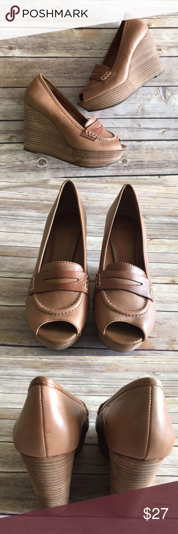 Lucky Brand leather wedge loafers Lucky Brand Laila brown leather wedge loafers. Good condition. The heel is about 4.5 inches tall and the platform is about 1.5 inches. Lucky Brand Shoes Wedges