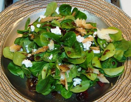 I chose the mache lettuce for its mild flavor and tender texture.  The addition of smoked trout and goat cheese rounds this dish out in a fantastic way.