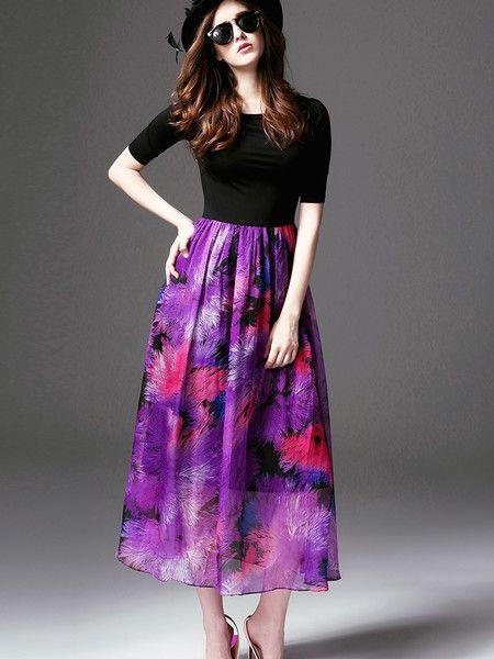 Paneled Polyester Midi Dress