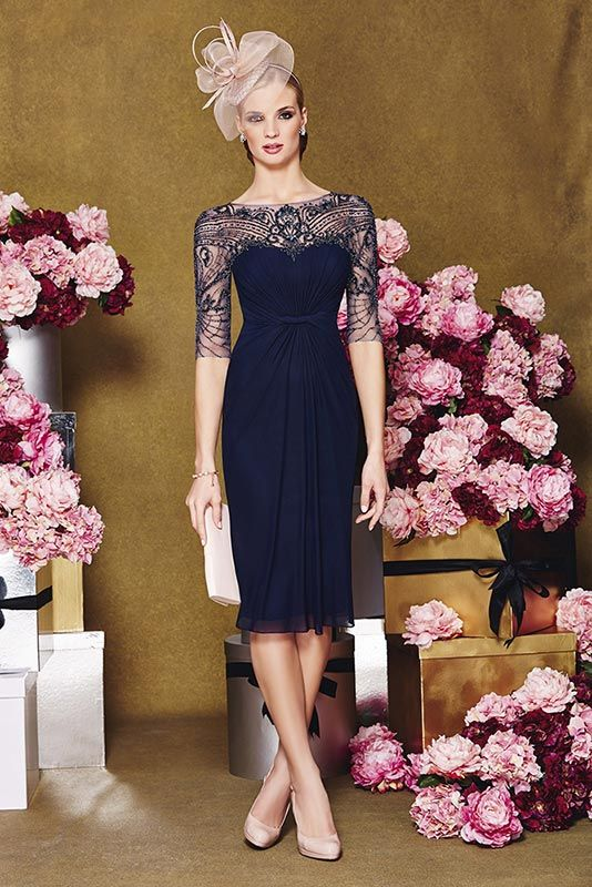 New into stock Ronald Joyce 991058 from their new Autumn/Winter 2015 collection. This is a stylish Mother of the Bride and Special Occasion dress in Navy.