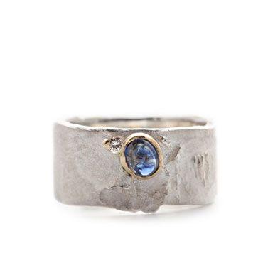 Ring zilver diamant saffier | Wim Meeussen &CTRA Zilveren Juwelen Antwerpen