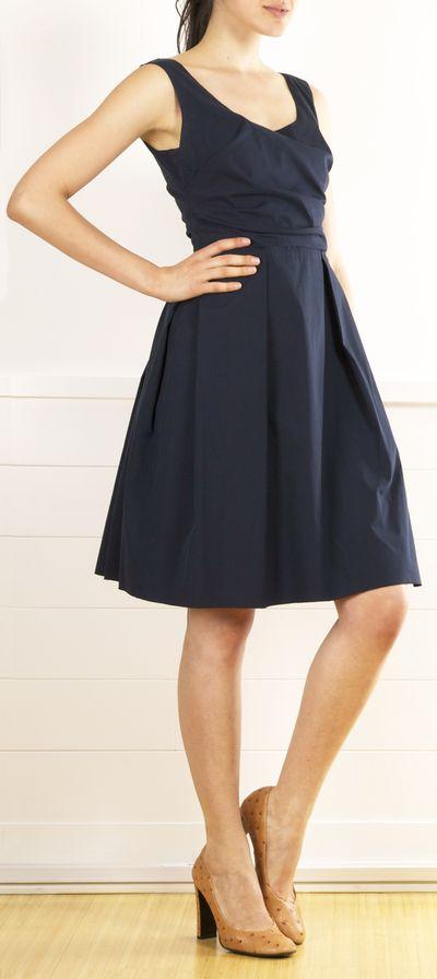 Prada Navy Cotton A-line Dress with full skirt