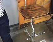 Industrial pipe and butcher block table bench by DardiBuilt
