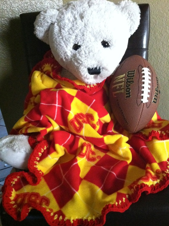 "USC Trojans Football Fleece Sports Baby Blanket by CozyKrafts, $18.95  So many teams to choose from for the little ""Fan"" in your life!"