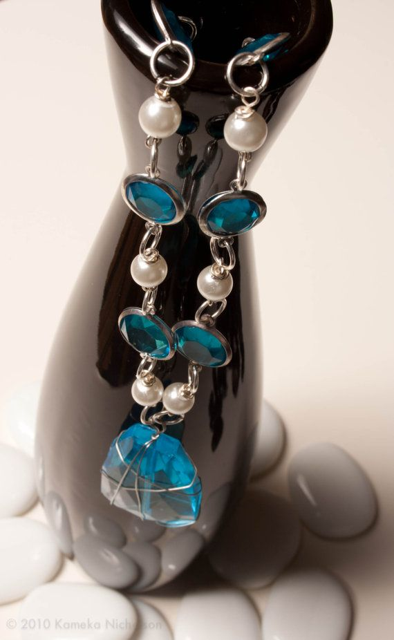Iced Pearl Blue wire wrapped pendant with by ElizabethsPearlz, $19.21