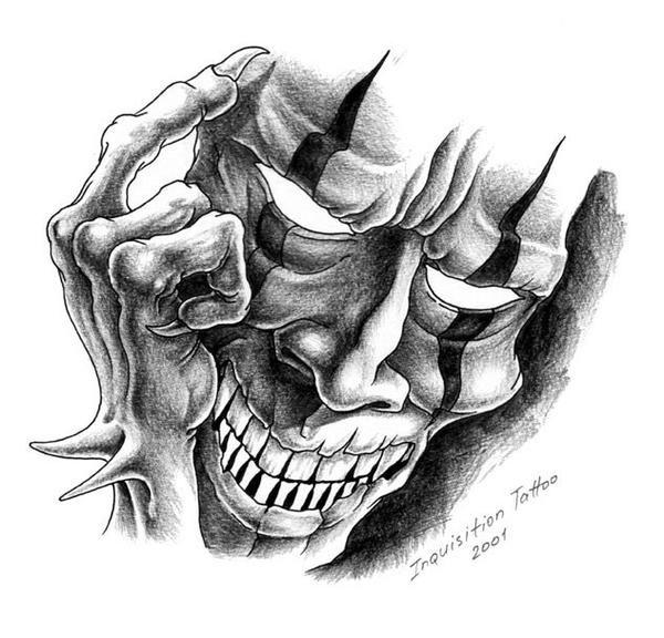 Evil Clown Mask Tattoo Design | Tattoobite.com