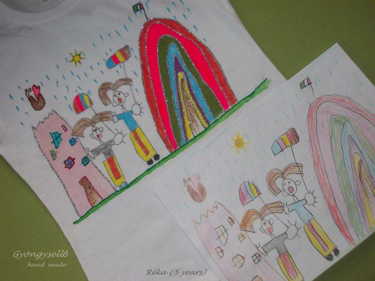 """""""Anya, gyógyulj meg!"""" póló. 5 és fél éves kislány rajza alapján."""