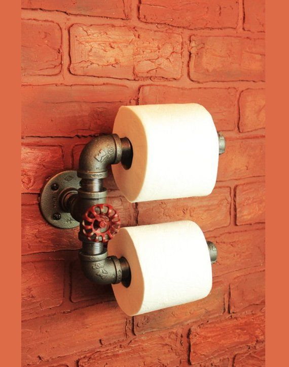 Double tp holder, industrial pipe toilet paper holder, black pipe bathroom accessories and decor red