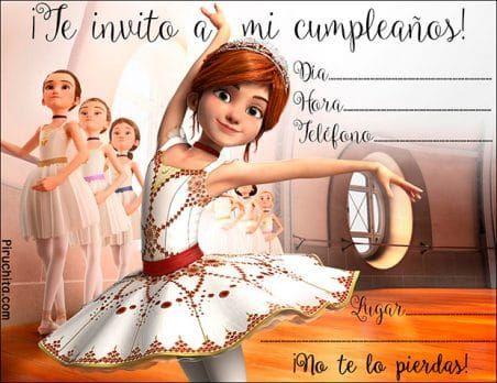Invitación de cumpleaños Bailarina de Ballet gratis para imprimir