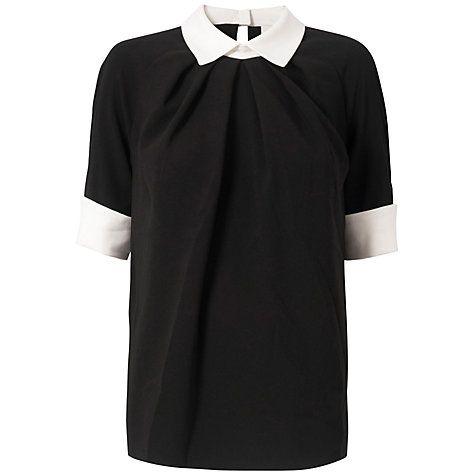 £18 Buy Almari Contrast Collar Top, Black/White Online at johnlewis.com