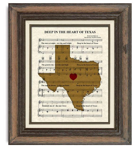 Texas Art Print  Deep In The Heart of Texas by TexasGirlDesigns
