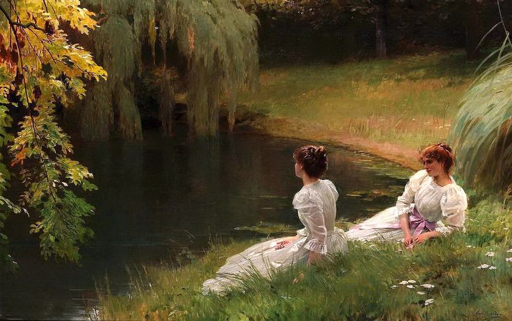Louis Emile Adan (1839-1937)  —  Elegant ladies at rest beside a pond  (1592×1000)