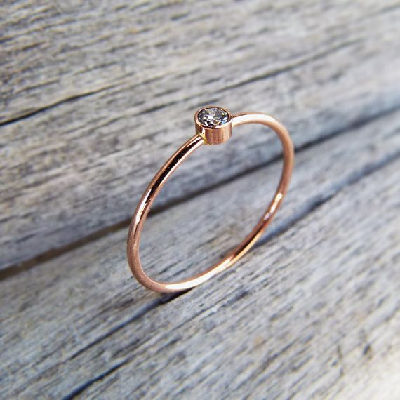 Rose Gold Ring - 14k Solid Gold. $210.00, via Etsy.