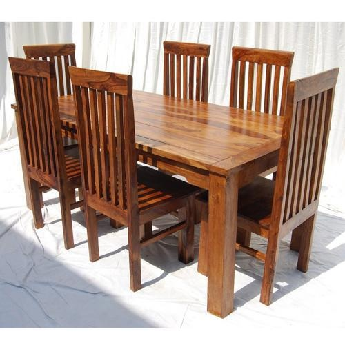 Rustic 7pc Dining Table 6 Chairs Set Solid Wood Furniture NEW On EBay237  Best KITCHEN TABLES AND CHAIRS WITH WHEELS AND MORE Images On