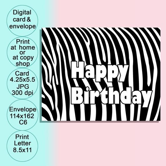 Printable Black White Birthday Card With Envelope Digital Etsy In 2020 Birthday Cards For Her Cards Birthday Cards