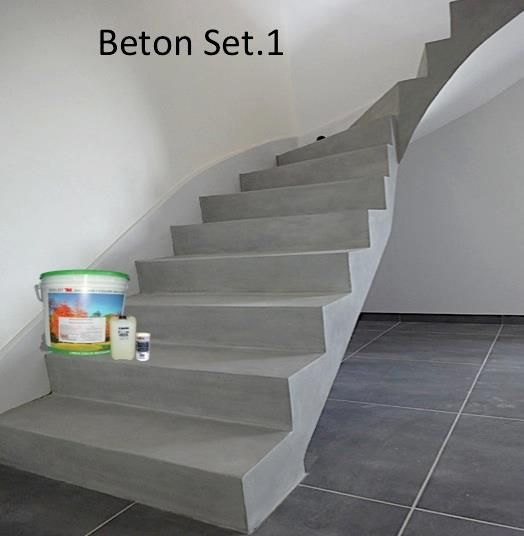 beton cir treppe betostuc set beton cire auf kalk zement basis f r b den und w nde unser. Black Bedroom Furniture Sets. Home Design Ideas