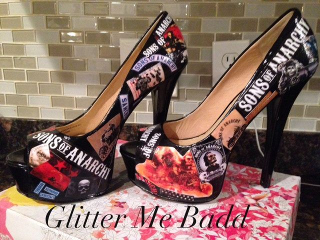 Sons of Anarchy Themed heels by GlitterMeBadd on Etsy, $105.00