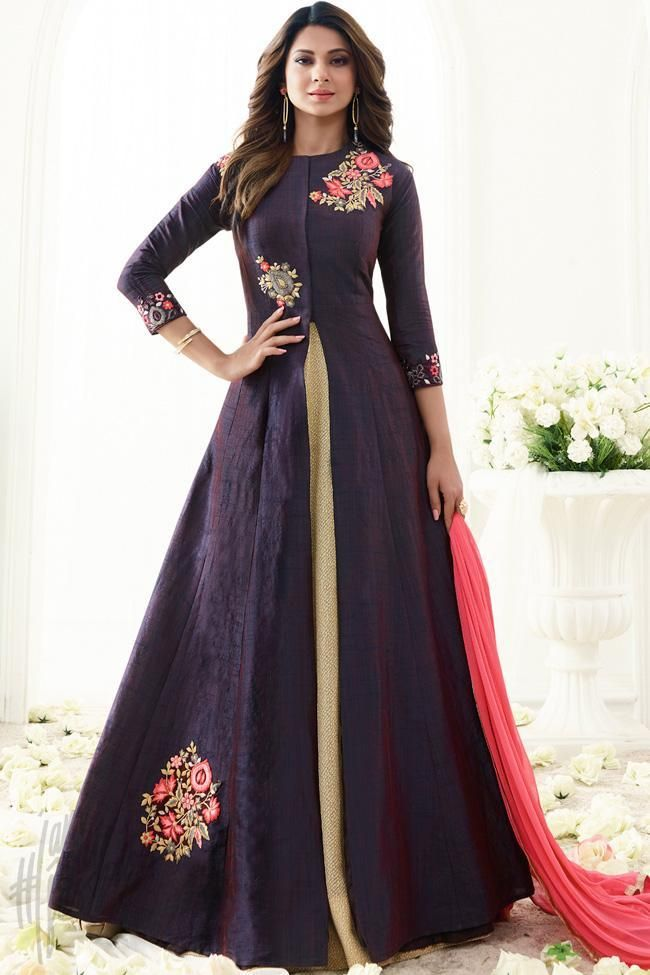 34d4688e0932 Buy Purple Banarasi Silk Floor Length Party Wear Suit Online at indi.fashion