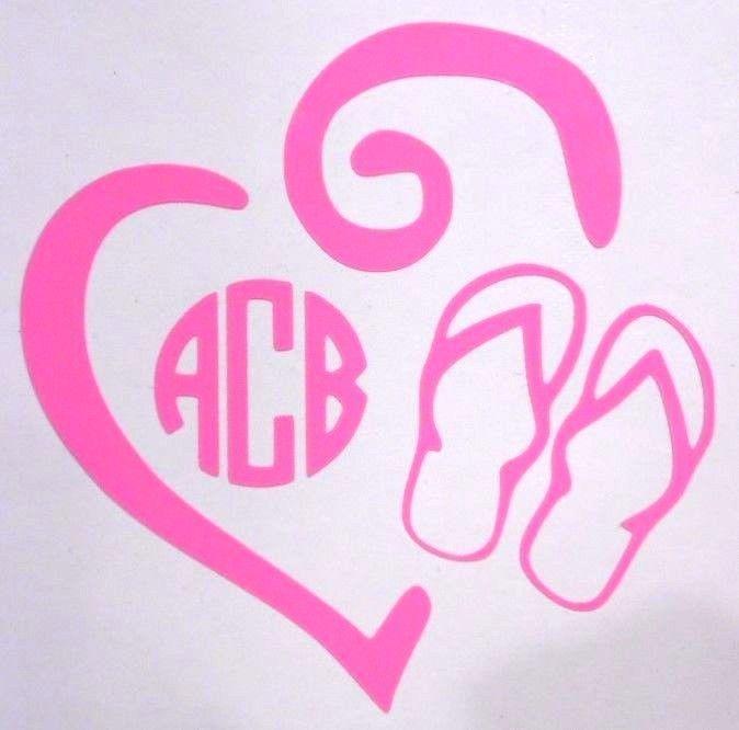 Flip FLop Heart Initial Monogram Cup Car Window Vinyl Decal Sticker 12 COLORS  #VinylDecalSticker