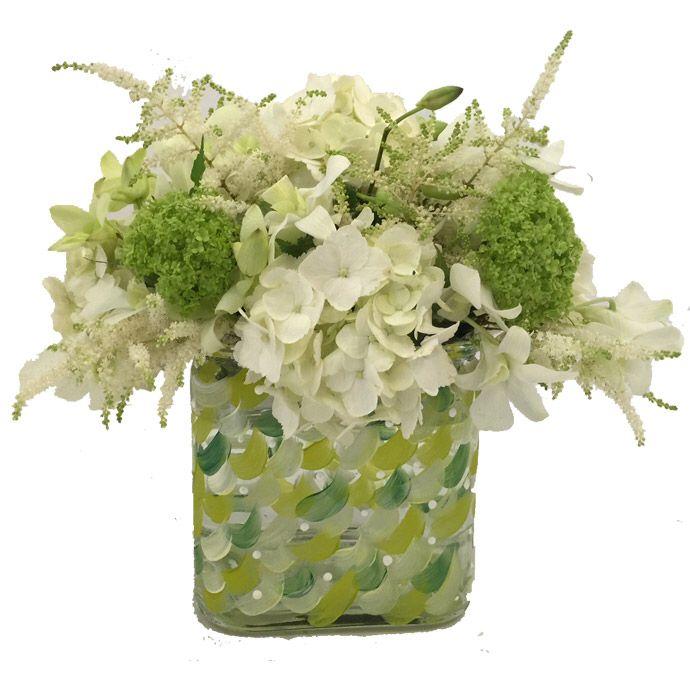 Handpainted glass vase centerpiece fleria.gr