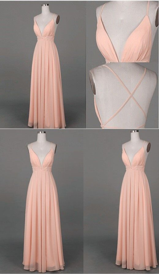 Simple Long Prom Dress,Simple A-line V-neck Long Prom Dress with Criss Cross Back Evening Gown