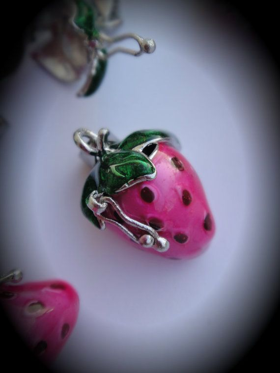 Yummy Strawberry Design Prayer Box Locket in Silver Plated Three Dimensional Pendant Charm In Buble Gum Pink via Etsy