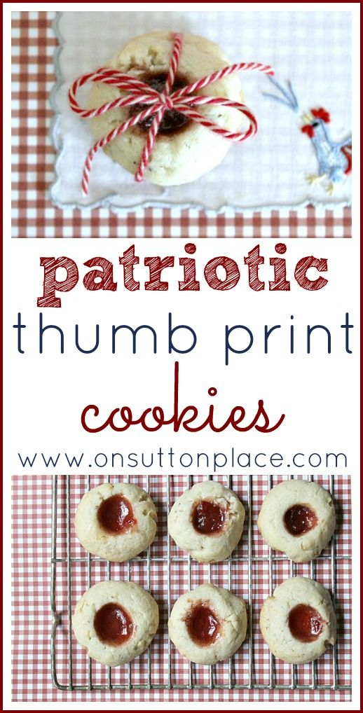 Little patriotic thumbprint cookies that can be made with the kids and are perfect for July 4th or Labor Day!