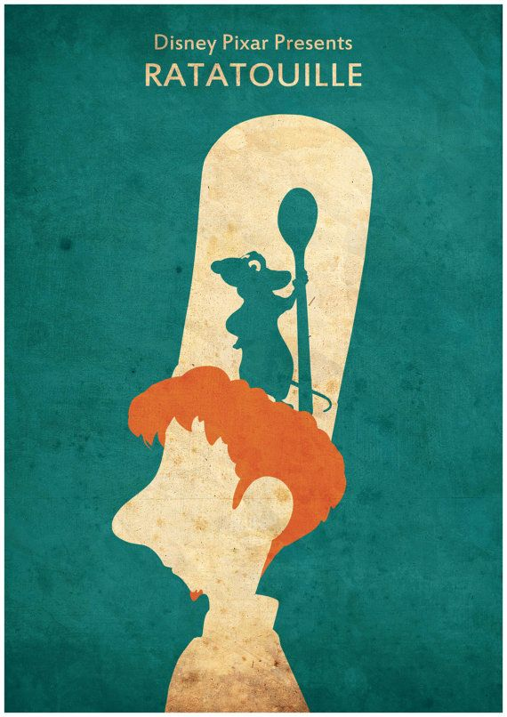 Ratatouille Minimalist Disney Pixar movie poster by CultPoster