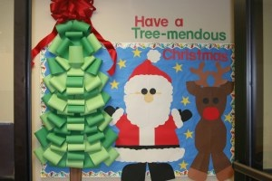 Christmas Tree Santa Reindeer Bulletin Board