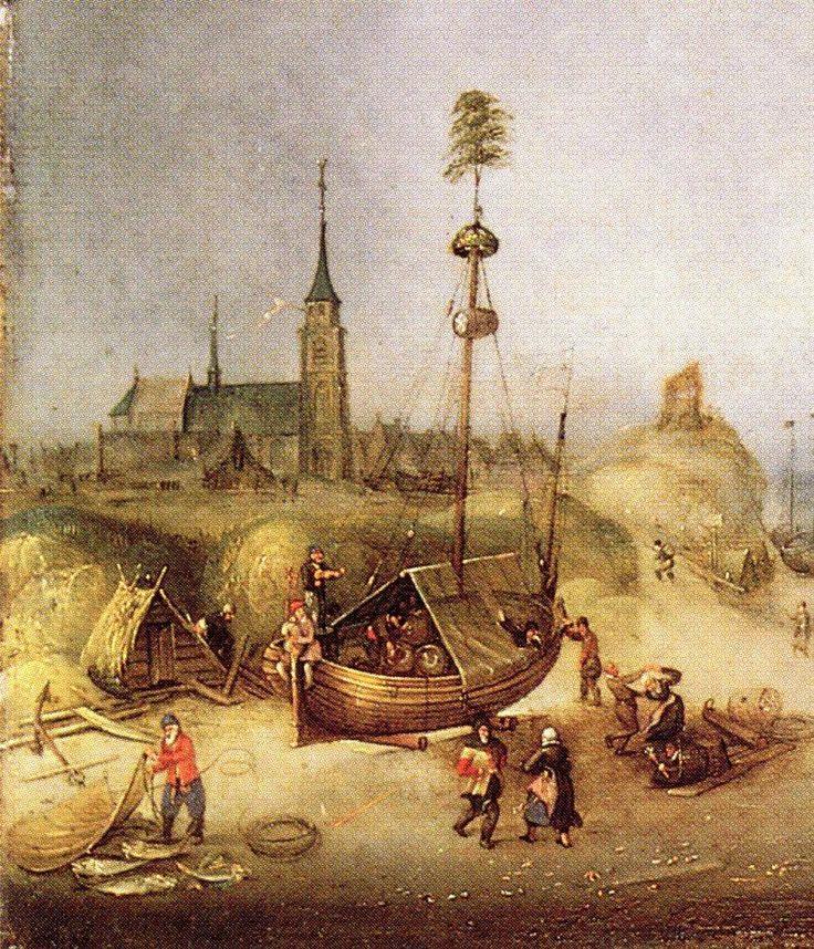 Cornelis Verbeeck (ca. 1590- na 1637) Op het schilderij is een versierde pink geschilderd met dansende mensen voor de boot. In de mast hangt een ton en in de boot liggen 3 vaten. Liggende vaten zijn in de 17e eeuw in het algemeen liggende biervaten. Voor het schip met biervaten wordt gedanst op de muziek van de doedelzak- en een vioolspeler op de achtersteven van de pink. Waarschijnlijk is de pink, de oudste geschilderde strandtent op het strand van Scheveningen.