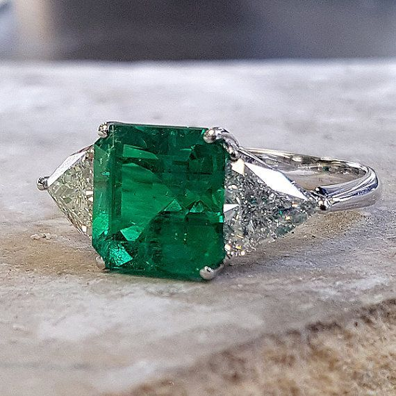 14K GOLD EMERALD RING by RubensJewelry on Etsy                                                                                                                                                                                 More