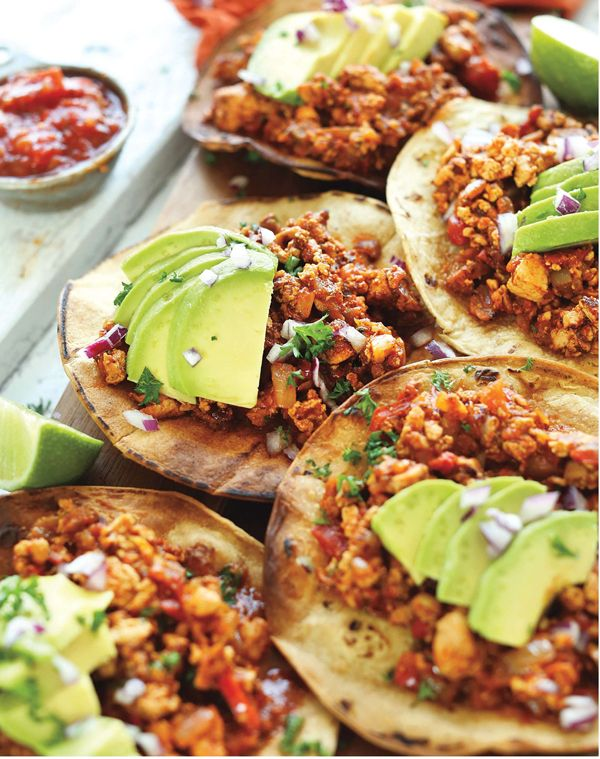 Spicy Braised Tofu Tostadas from Minimalist Baker's Everyday Cooking | Tofu - Vegetarian Mexican Recipes | OhMyVeggies.com