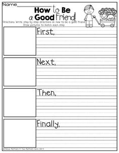 """How to be a Good Friend"" writing prompt using transitional words!"