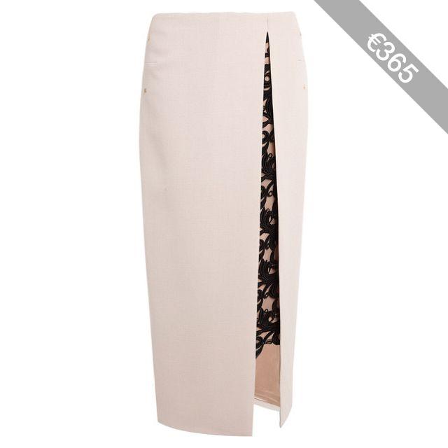Marios Schwab Contrast Lace Wool Crepe Maxi Pencil Skirt