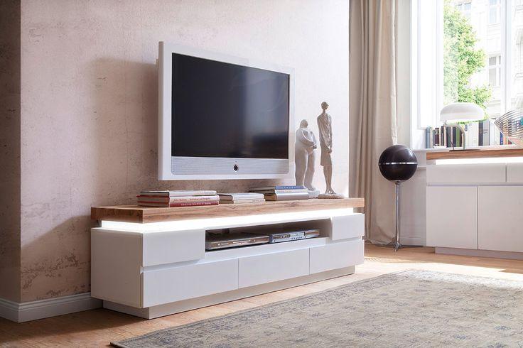Vente VINTAGE TOUCH / 25461 / Salon / Meubles TV / Meuble TV 5 tiroirs avec LED Romna - Blanc laqué et naturel