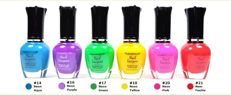 KLEANCOLOR Nail Polish Neon Colors Lot of 6 Lacquer Neon ...