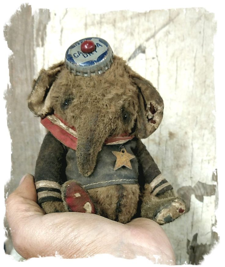"TINY CHUBBY Old & WORN SAILOR ELEPHANT -5.5"" By Whendi's Bears / Whendi's Bears handmade artist teddy bear mohair"