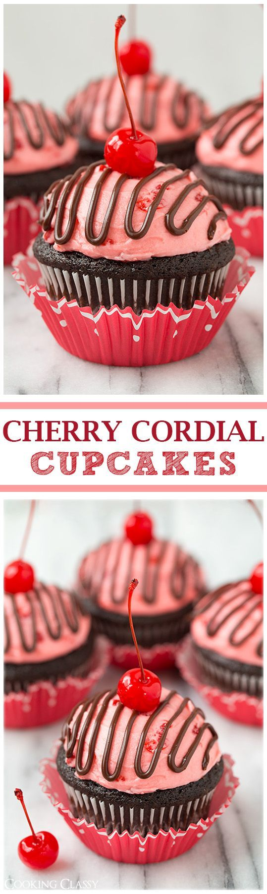 Cherry Cordial Chocolate Cupcakes - these taste JUST like a cherry cordial! So decadently delicious!