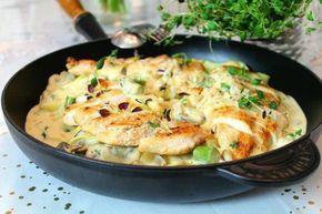 Krämig pasta med kyckling, champinjoner och dijonsenap