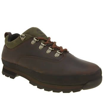 Timberland Brown Euro Hiker Low Mens Shoes The popular Timberland Euro Hiker arrives with a Low-rise update for the new season. The earthy tones of brown and green compliment this leather lace-up for a more outdoorsy look. A dual-density EVA m http://www.MightGet.com/january-2017-13/timberland-brown-euro-hiker-low-mens-shoes.asp